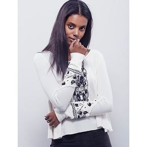 Free People White Embroidered Swing Thermal Small